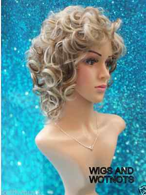 Ladies Zyr blonde/brown tones short curly synthetic wig classic cap heatsafe