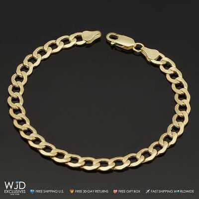 10k Solid Yellow Gold 6.7mm Wide Cuban Curb Link Men's Bracelet 8.5''