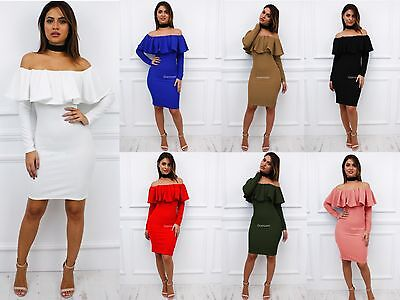 New Womens Ladies Off Shoulder Bardot Frill Long Sleeve Midi Bodycon Dress