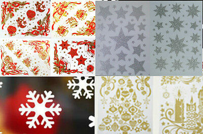 Reusable Xmas Window Stickers: Jewel Baubles/Silver Stars/Gold Glitter/Snowflake