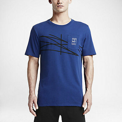 Nike Mens NikeCourt French Open Agassi Tennis T-Shirt Deep Royal Blue New M