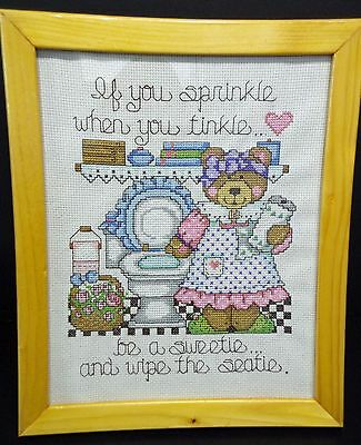 "Wall Hanging-Cross Stitch ""Be a sweetie"" (Completed)"
