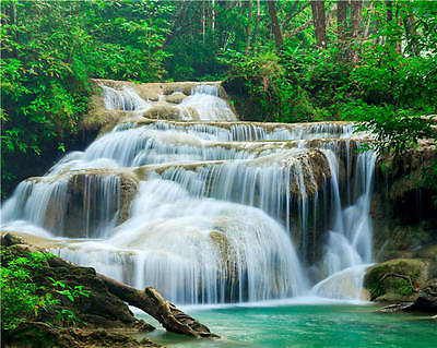 Kao Fu Waterfall In Forest Full Wall Mural Photo Wallpaper Print Home 3D Decal