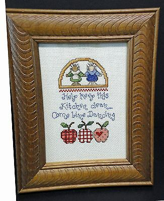 """Wall Hanging-Cross Stitch """"Help keep this kitchen clean"""" (Completed)"""
