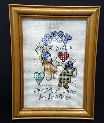 "Wall Hanging-Cross Stitch ""Dust is just..."" (Completed)"