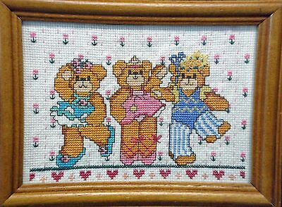 "Wall Hanging-Cross Stitch ""Ballet bears"" (Completed)"