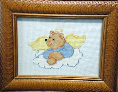 """Cross Stitch """"Guardian Angel Teddy"""" (Completed)"""