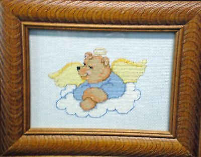 "Wall Hanging-Cross Stitch ""Guardian Angel Teddy"" (Completed)"