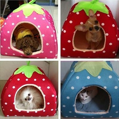 Pet Dog Cat Strawberry Bed House Kennel Doggy Puppy Warm Cushion Basket Soft