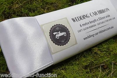 Wedding Car Ribbon - White Satin Ribbon - Decorate your Bridal Car - 50mm x 6m