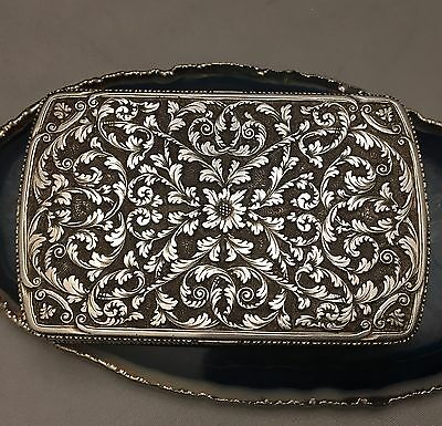 INTRICATE Austro-Hungarian Empire c1880 Hand Chased Sterling Silver Pillbox-L391
