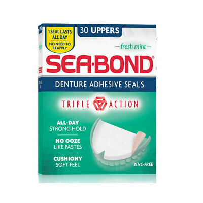 ~ SEA BOND DENTURE ADHESIVE WAFERS FRESH MINT 30 UPPERS Quik Fix SEABOND