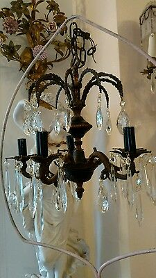 SHABBY Antique VTG BLACK EMPIRE BRASS CRYSTAL PRISM chandelier LAMP OLD