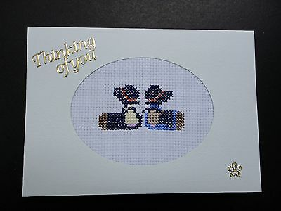 "Cross Stitch Card- ""Thinking of you""- (Completed card)"