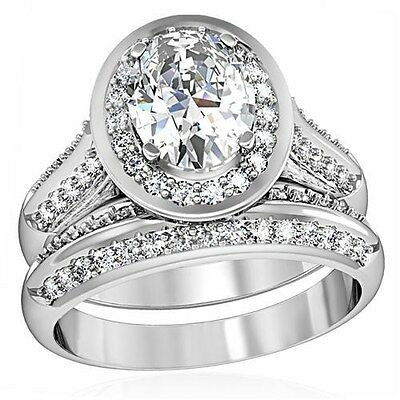 Sterling Silver Halo Oval Simulated Diamond Engagement Wedding Ring Set Size 5 J
