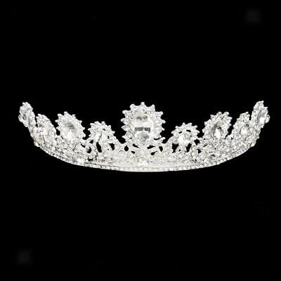 Wedding Diamante Rhinestone Crystal Teardrop Crown Headband Tiara Headpiece
