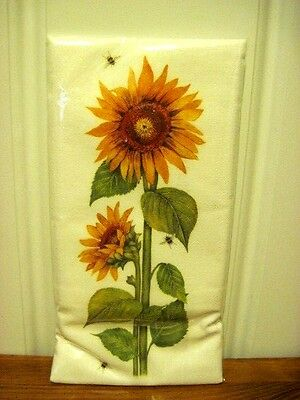 "Mary Lake Thompson  ""Sunflowers With Bees "" Flour Sack Towel"