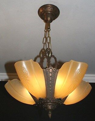 Antique 1920s art deco amber slip shade glass  light fixture ceiling chandelier