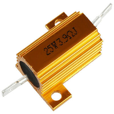 Chasis Mounted Aluminum Housed 25W 3.9 Ohm 5% Wirewound Resistors Gold LW