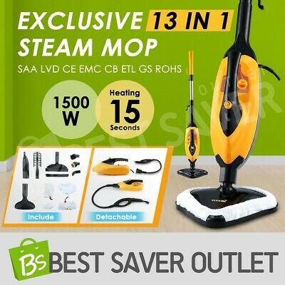 1500W 13 in 1 Foldable Steam Mop Handheld Floor Carpet Steamer Cleaning Cleaner