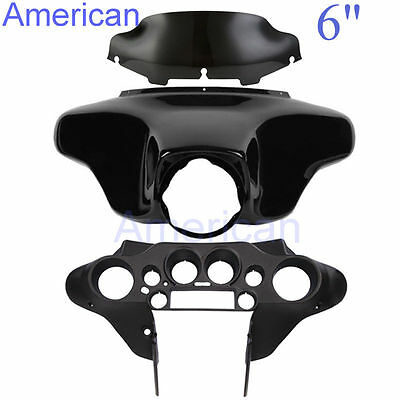 "ABS Batwing Inner+Outer Fairing+6"" Windshield For Harley Street Electra Glide"
