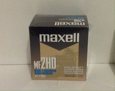 """15 Maxell Diskettes MF2HD IBM Formatted 1.44 MB 3.5"""" PC Floppy Disks New In Pack"""