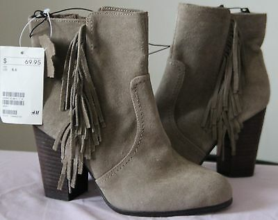 H&M TAUPE SUEDE SUEDE SUEDE Fringe Ankle Stiefel Sz US 5.5 EUR36 (NWT) 69.95 f0cdab
