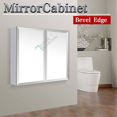 Bevel Edge 750x720x150mm Bathroom Vanity Mirror Cabinet Shaving Medicine White