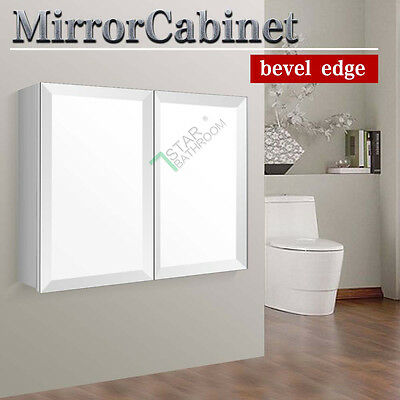 900x720x150mm Bevel Edge Shaving Mirror Cabinet Bathroom Vanity Medicine White
