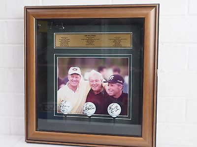 The Big Three Golf ball collection frame with signature