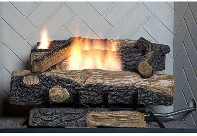 "Fireplace Natural Gas Log Set Vent Free Fire Place Oak Wood Logs 24"" Realistic"
