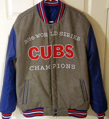 2016 Chicago Cubs World Series Champs Reversible Jacket Wool Leather JH Design
