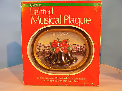 Vintage Christmas Lighted Musical Plaque 12 Tunes Electronic 9Volt