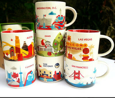 Hot 14oz Starbucks Coffee Mug You Are Here City Collector Series Mugs Cup