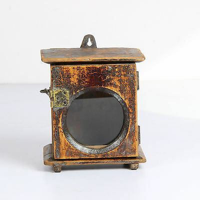 Vintage Old Wooden Hand Carved Wall Fixing Alarm Clock Case Box-Ebay3646Rb10