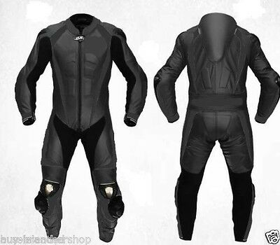 Black MOTOGP Motorcycle Leather Suit Racing Cowhide ONE PIECE All size US