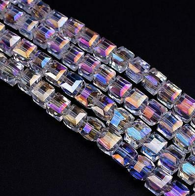 Cube Beads Assorted Mixed A3093 50 pieces 8mm Crystal Glass Square