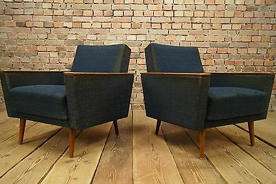 60s VINTAGE 2x ARMCHAIRS PAIR EASY CHAIRS DANISH FAUTEUIL Mid Century Retro