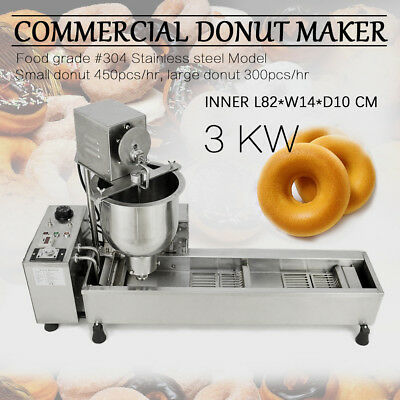 Commercial Automatic Donut Maker Making Machine,Wide Oil Tank,3 Sets Mold 220V