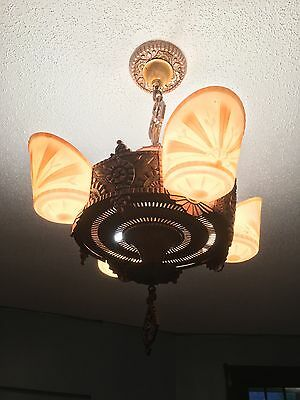 Beardslee Williamson Polychrome Art Deco Slip Shade Chandelier and Sconces