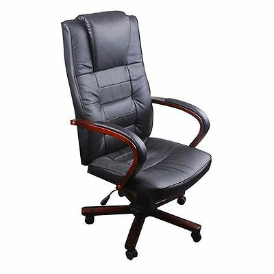Black Office Chair Aritificial Leather Ergonomic High Back Executive Recliner