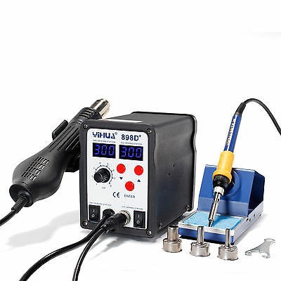 Yh-898D+ Smd Esd Safe 2 In 1 Hot Air Rework Soldering Iron Station Blue Led Uk