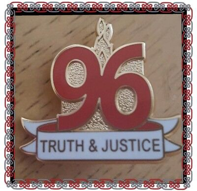 Liverpool Stud Badge - 96 Truth & Justice Badge with Flame- Red and White