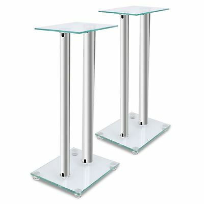 2pcs Speaker Stands Pair Glass Aluminum Silver w/ 2 Pillar Monitor Floor Studio