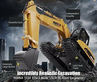 HUINA 1550 1:12 2.4GHz 15CH RC Alloy Excavator