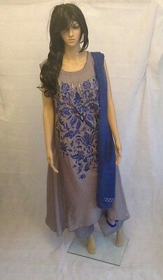 Ready made Arabic Lawn A-Line frock - Blue and Grey - Small - AF33