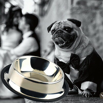 All Size Stainless Steel No tip No Slip Dog Puppy Pet Food or Water Bowl Dish E#