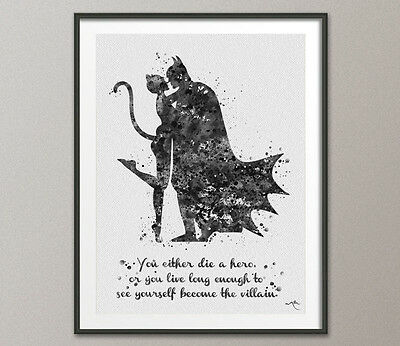 Batman and Catwoman Quote Watercolor Painting Print Super Hero Wall Decor Art