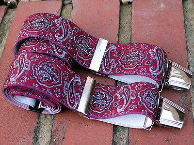 Mens Trouser Braces Burgundy n Red Paisley 35mm Wide Four Heavy Duty Clasps