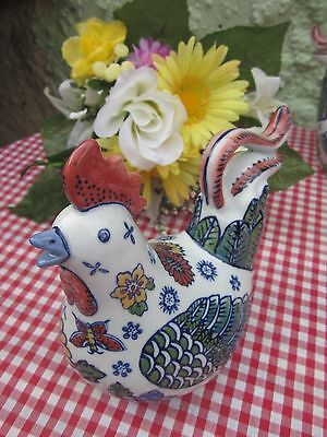 Ornamental ceramic chicken - mulit floral NEW